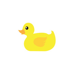 yellow duck cartoon isolated vector