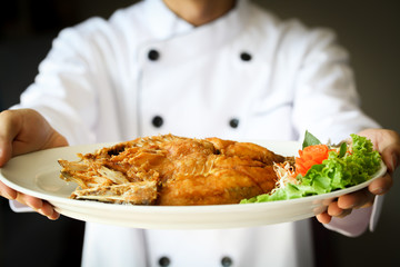 Chef proudly presenting Fried sea bass fish on white plate