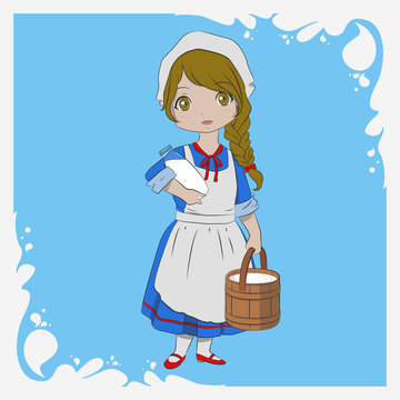 a milkmaid carrying a wooden pail of milk and a bottle of milk illustration. milk splash border