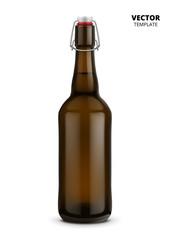 Beer bottle glass mockup vector isolated