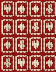 Knitted casino poker symbols  seamless pattern, vector illustration