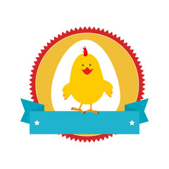 circular stamp with silhouette chicken animal and ribbon vector illustration