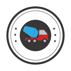 color circular emblem with cement mixer truck vector illustration