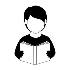monochrome man half body with book vector illustration