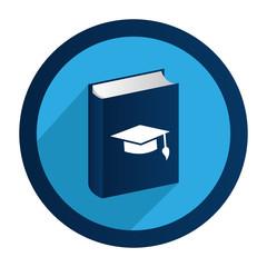 circular emblem with book with graduation hat vector illustration
