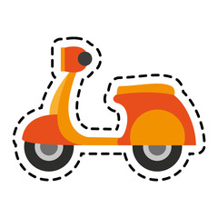 scooter motorcycle icon over white background. colorful design. vector illustration