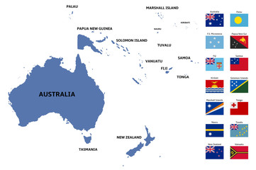 oceania map and flags