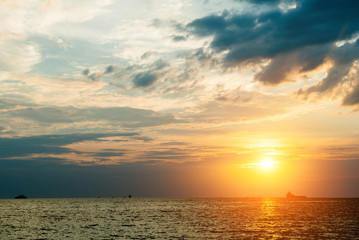 sunset on the beach seaside.