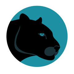 black panther vector illustration style Flat