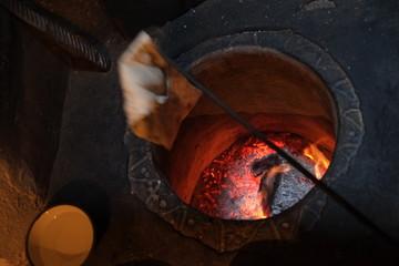 Turkish bread in tandoor