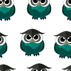 Seamless pattern owl. Cartoon style. Cute birds. Vector isolated image. Beautiful Wallpaper