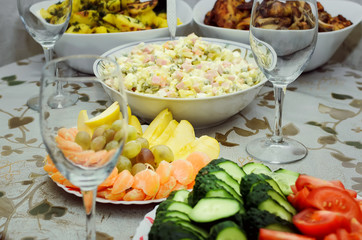 Russian Salad Olivie, fresh fruits and vegetables. Tradition.