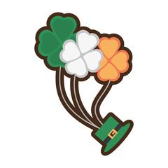 bunch clover hat fly st patricks day vector illustration eps 10