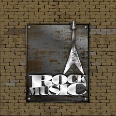 Old brick wall rusty metal sheet iron rock music