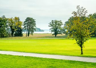 Keuken foto achterwand Lime groen Green trees in Herrenchiemsee palace park
