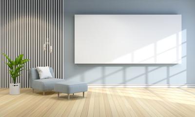 Modern room interior design ,blue sofa with gray wall ,interior design ,3d render