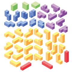 set of color tetris blocks, isometric illustration