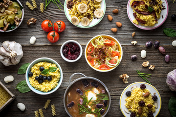 Top View Food and Ingredients on Wooden Background