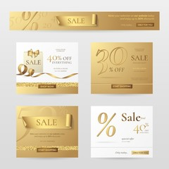 Set of elegant sale banners with golden bow, ribbon and paper shopping bag. Vector template for website with gold and white background. Isolated from the background.