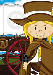 Cute Cartoon Cowboy Girl and Wagon