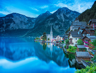 View on Hallstatt in dusk