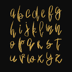 Vector golden lowercase alphabet