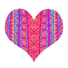 Bright heart with abstract pattern on white background