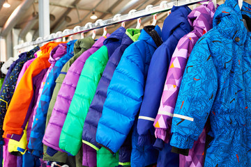 Winter children sports jacket on hanger in store