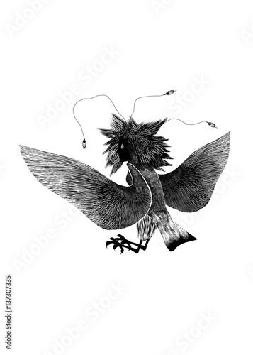 Mythological Animal Bird Female Gamayun On White Background