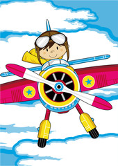 Cartoon Vintage Plane with Cute Pilot