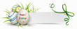 Paper Banner Green Ribbon Easter Eggs