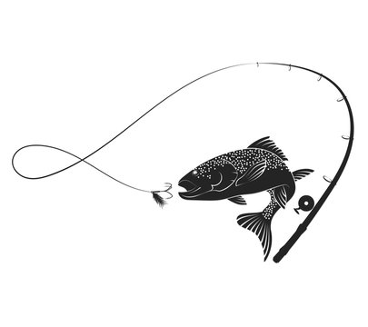 Fish and fishing rod silhouette