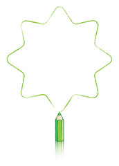 Green Colouring Pencil Drawing Star with Eight Rounded Points