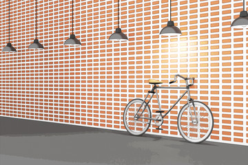 3D rendering : illustration of retro bicycle and vintage lamp hanging on the roof against of the red brick wall.background.hipster. comic halftone picture style process
