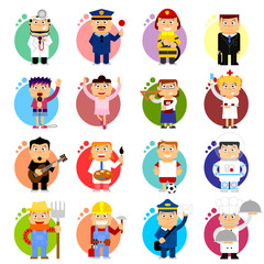 Professions icons - vector cartoon