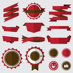 set of red badges , labels and ribbons. flat design concept. branding and sale decoration. vector illustration.