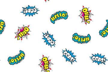 Seamless pattern comic speech bubbles