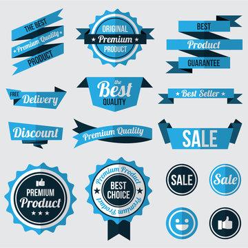 set of blue badges , labels and ribbons. flat design concept. branding and sale decoration. vector illustration.