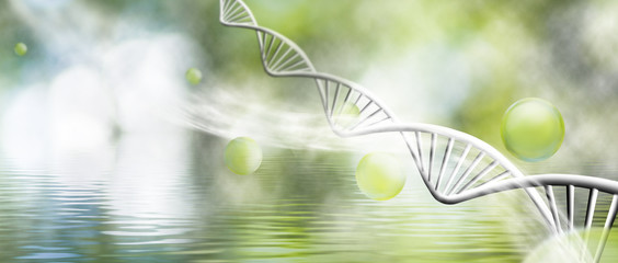molecular structure and chain of dna on a green background closeup