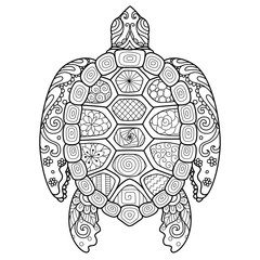 Zendoodle stylized turtle for T-Shirt design,tattoo and adult coloring book page