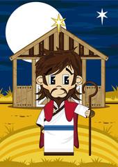 Cute Cartoon Jesus Christ at Nativity Barn
