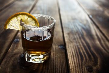 alcohol shot drink with lemon and salt