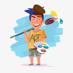 Artist man carrying big paintbrush like a weapon. character design of artist - vector