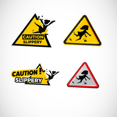 Slippery floor surface warning sign - vector