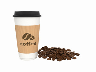 Paper coffee cup with coffee beans without shadow on white background 3d