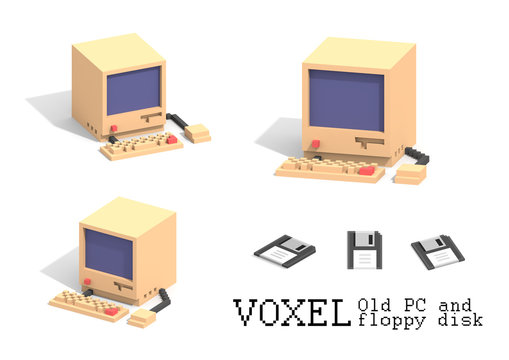 vintage personal computer mouse, keyboard and floppy disk in voxel art