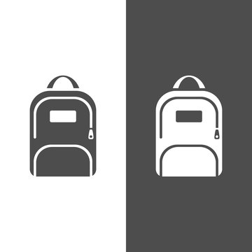 Backpack icon on a dark and white background