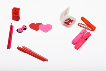 Layout objects isolated on the topic - Valentine's Day