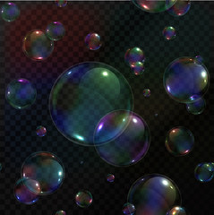 Vector seamless pattern of realistic soap bubbles on the transparent background.