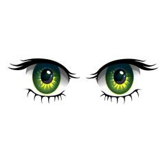 Cartoon eyes on white background. Anime style eyes with long eyelashes. Vector Illustration